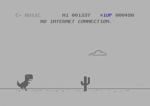 C=Rex Offline, minihra z prohlížeče Chrome v předělávce pro C64
