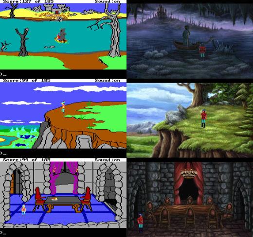 King Quest 2 - originál (1985) vs. fanouškovský remake (2002)