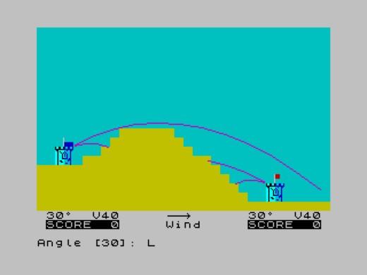 Artillery, přestřelka pro dva hráče (ZX Spectrum)