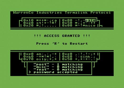 Fallout Hacker, logická hříčka pro Commodore 64