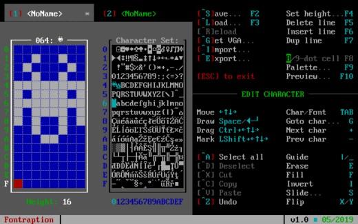 Fontraption, nový nástroj pro tvorbu VGA fontů