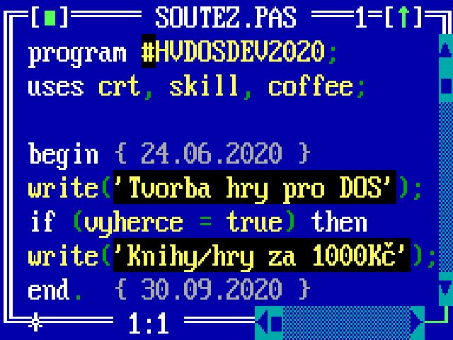 Soutěž >> tvorba hry pro DOS >> #hvdosdev 2020