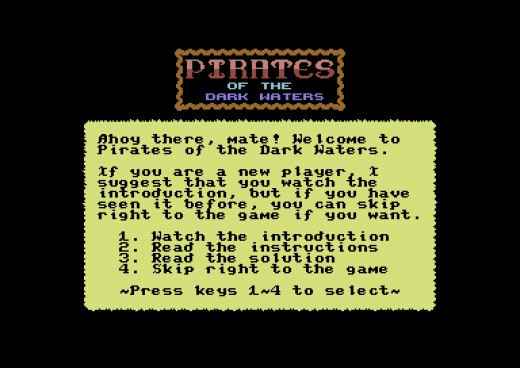 The Pirates of Dark Waters V2, přeleštěná textovka pro Commodore 64