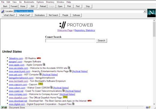 Protoweb, retro střípek internetu pro vaše staré počítače